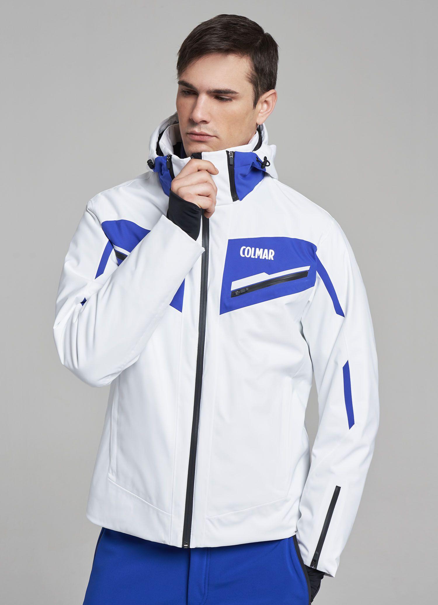 Colmar Golden Eagle Mens Ski Jacket in WhiteElectric Blue