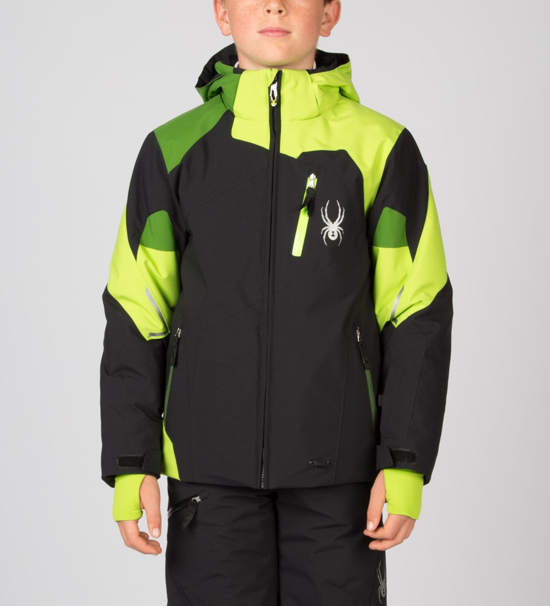 53bfab230 Spyder Boys Leader Ski Jacket in Black/Theory Green