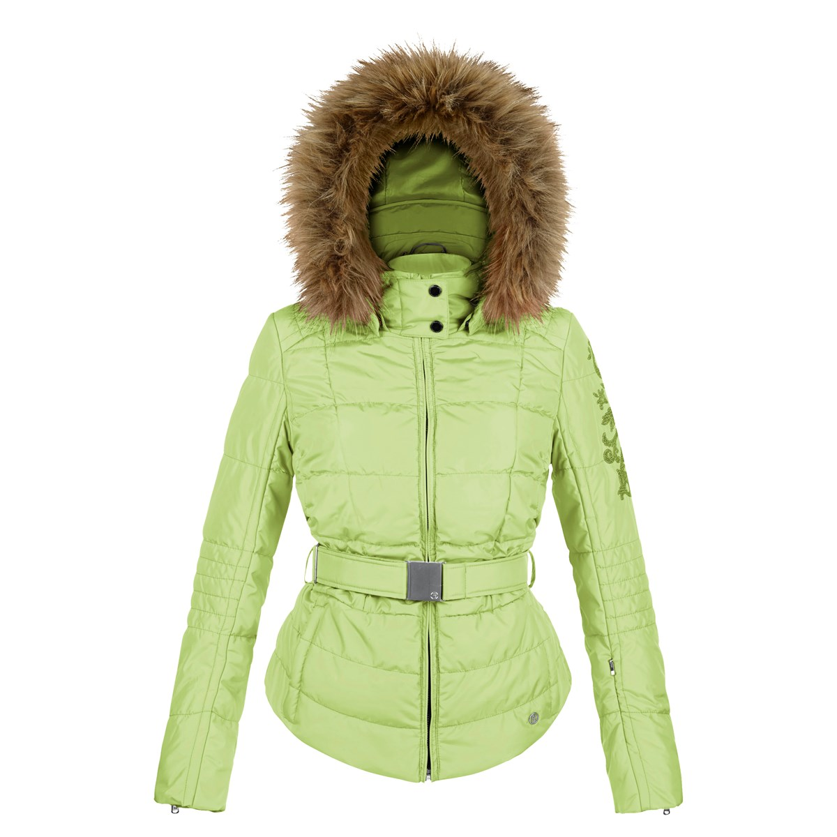 a3e5920d44 Poivre Blanc Quilted Faux Fur Womens Ski Jacket in Soft Lime £299.00
