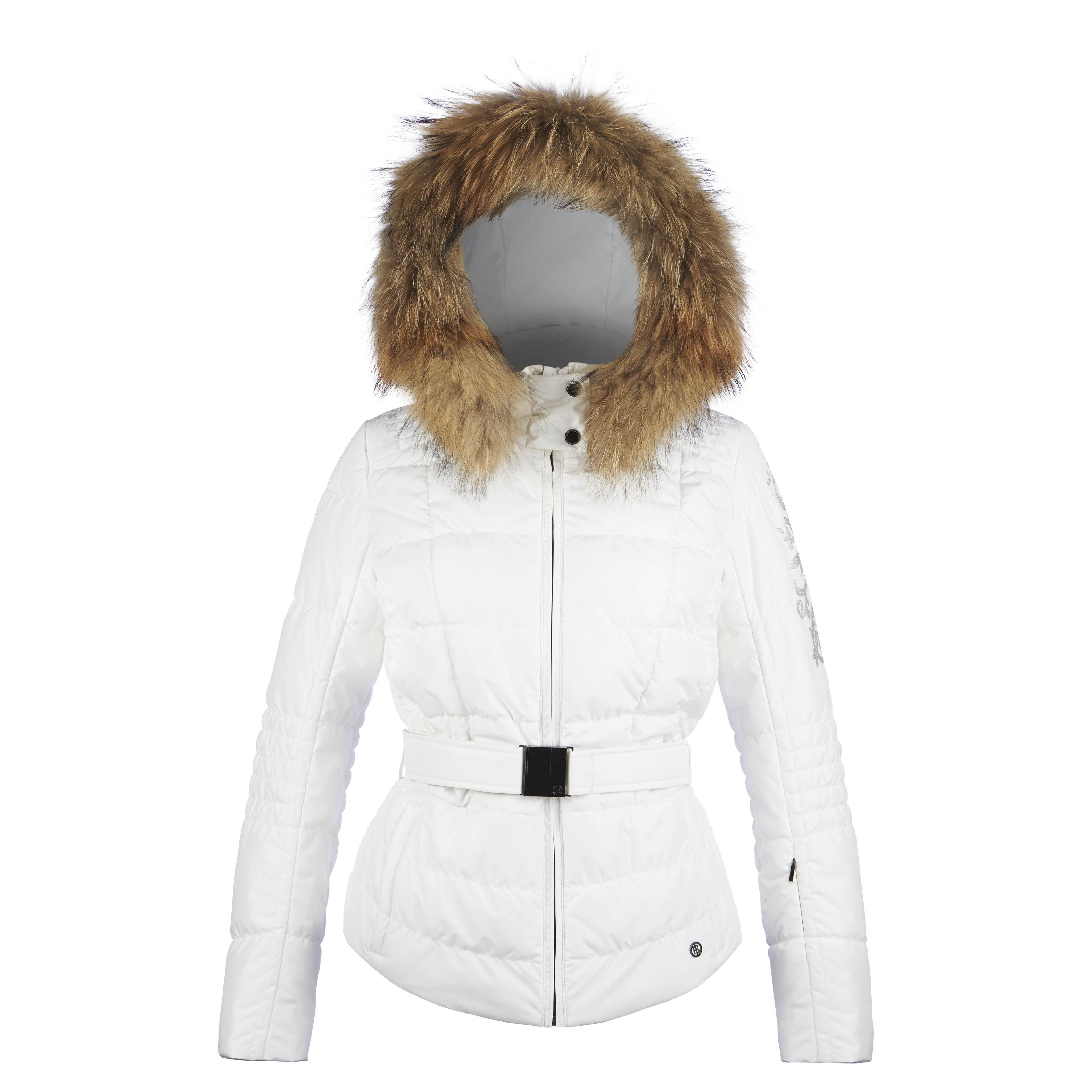 Poivre Blanc Quilted Faux Fur Womens Ski Jacket In White
